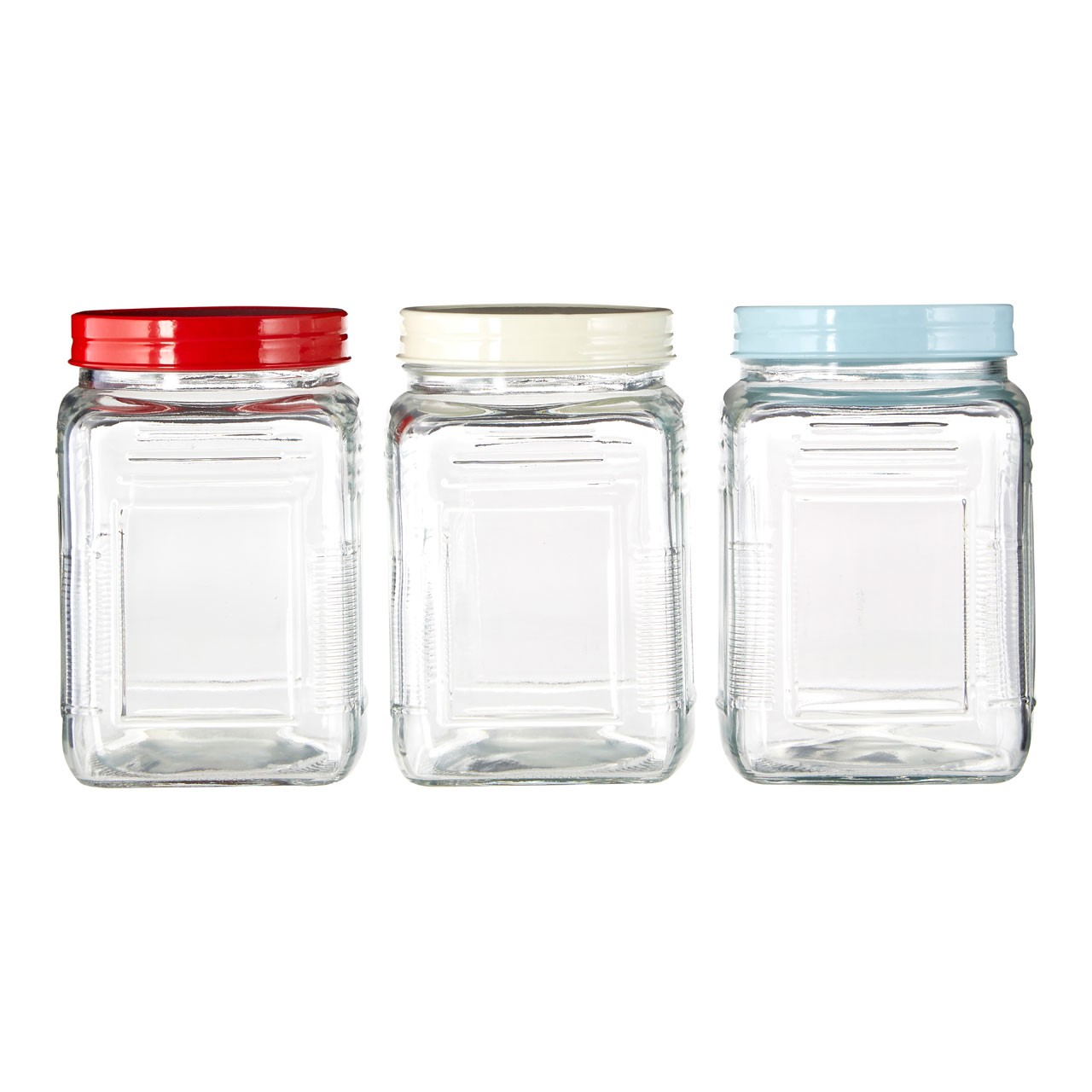 Square Glass Storage Jar, 750ml - Set Of 3