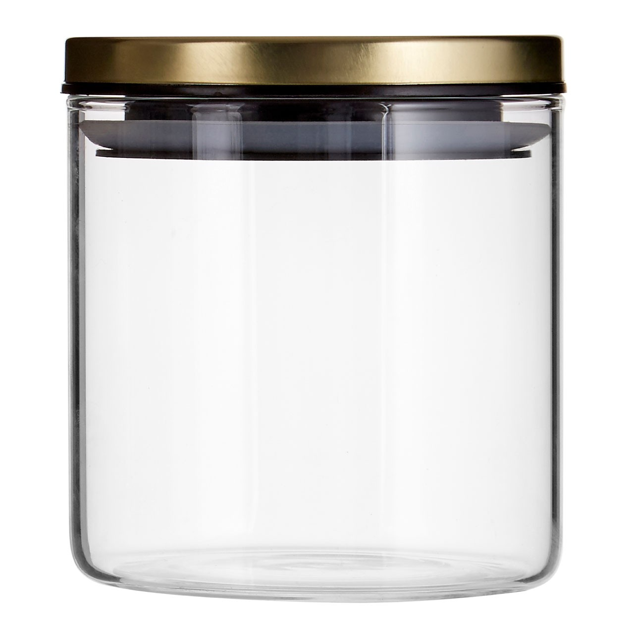 Prime Furnishing Freska Round Glass Storage Jar, 550 ml, Gold