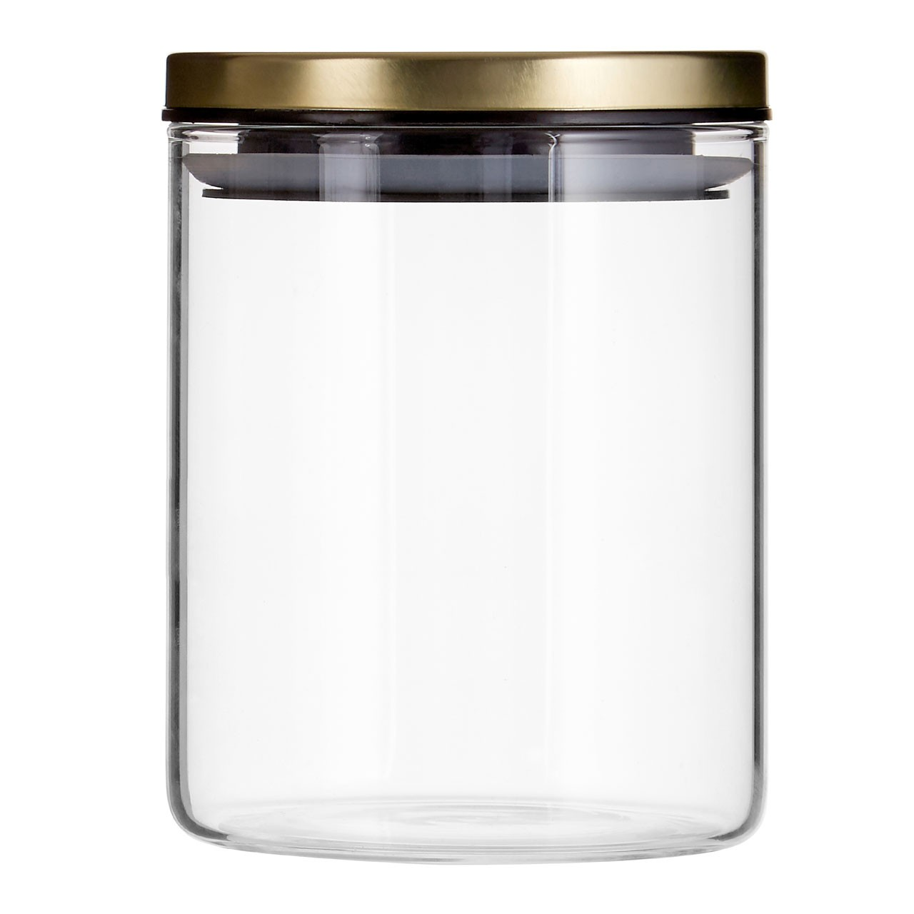 Prime Furnishing Freska Round Glass Storage Jar, 700 ml, Gold