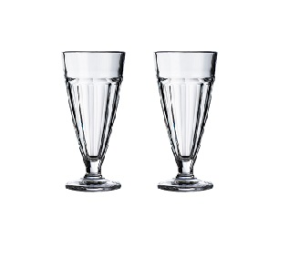 Set of 2 Tall Sundae Dishes, Clear Glass