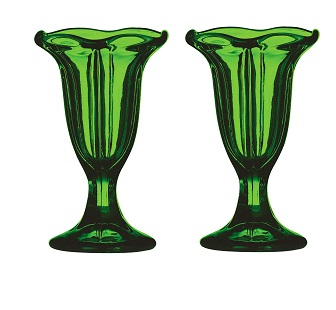 Prime Furnishing Sundae Dish, Green Glass, Set Of 2