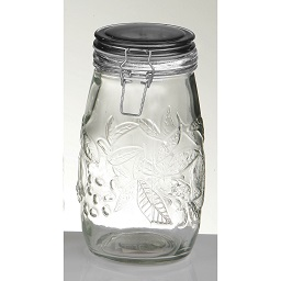 Prime Furnishing Embossed Fruit Glass Deli Jar, 1400ml - Black