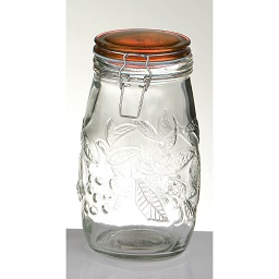 Prime Furnishing Embossed Fruit Glass Deli Jar, 1400ml