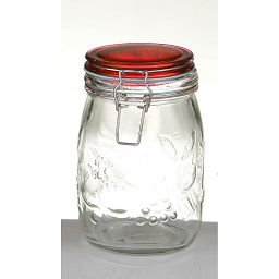 Prime Furnishing Embossed Fruit Glass Deli Jar, 950ml - Red