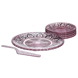 6-Piece Glass Cake Plate Set - Pink