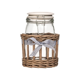 1L Country Cottage Glass Storage Jar On Willow Basket