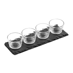 Prime Furnishing Set of 4 Ribbed Glass Bowls on Slate Tray