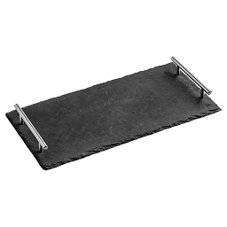 Prime Furnishing Slate Tray With Stainless Steel Handles