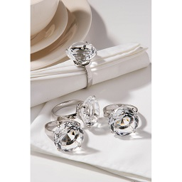 Diamante Napkin Rings - Clear, Set of 4