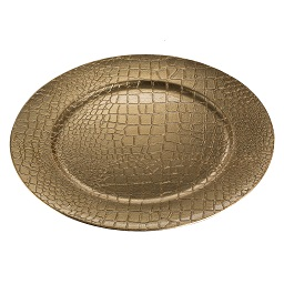 Prime Furnishing Crocodile Effect Charger Plate - Gold