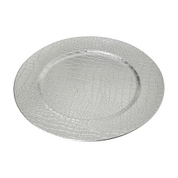 Prime Furnishing Silver Crocodile Effect Charger Plate