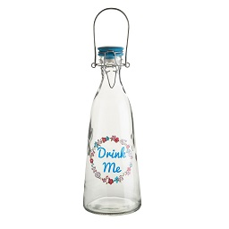 "Prime Furnishing Glass Water Bottle, ""Drink Me"" 1000ml"