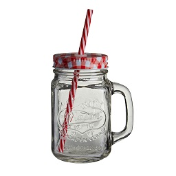 Embossed Mason Jar Mug Square Clear Glass Red Gingham Lid