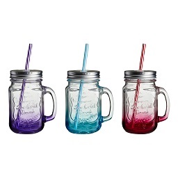 Embossed Mason Jar Mug - Set Of 3