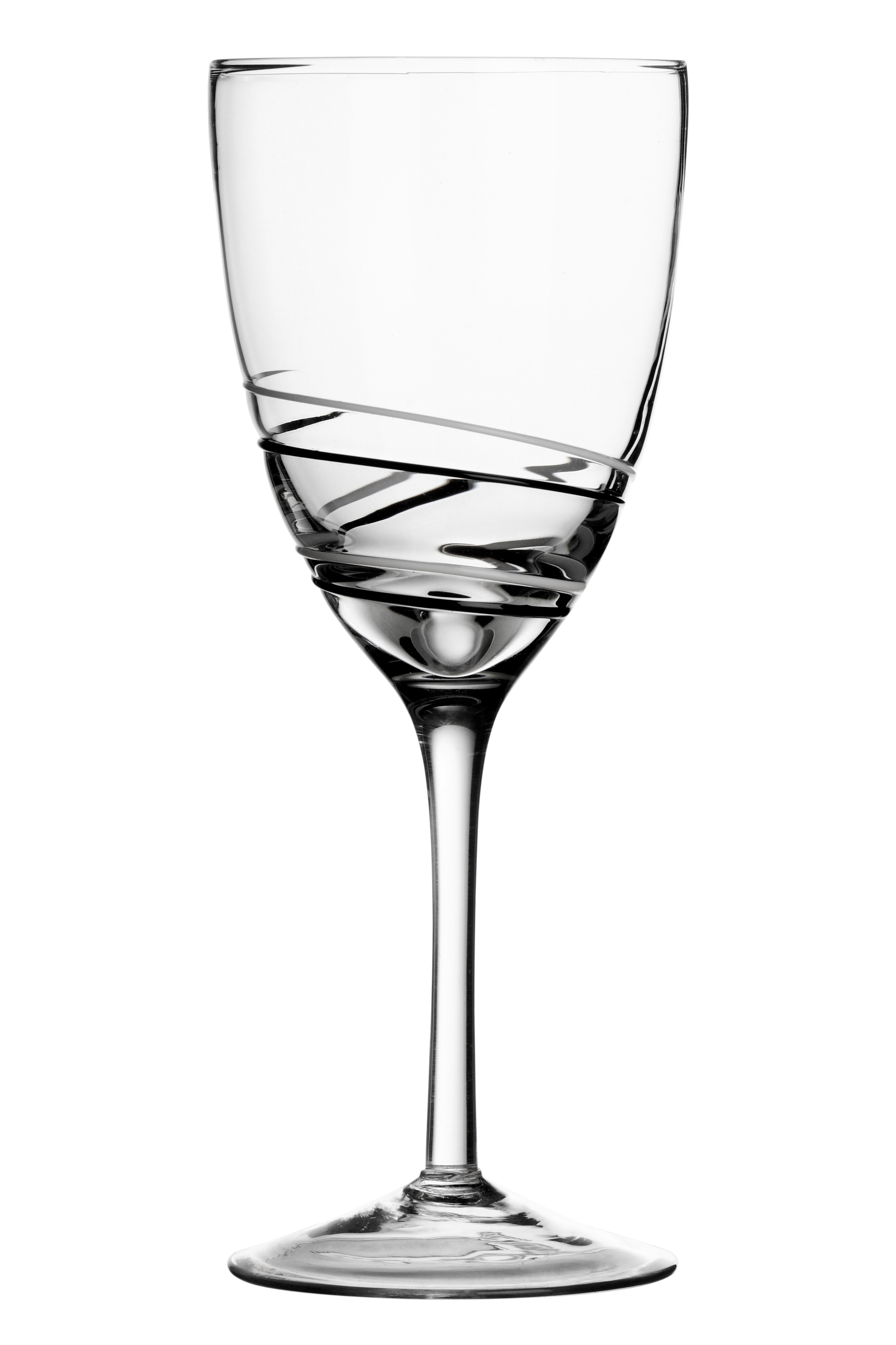 Viva White Wine Glasses, Set of 2, Black/White Swirl