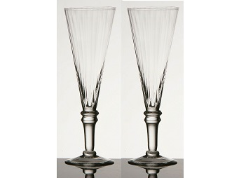 Ribbed Champagne Flutes - Clear, Set of 2