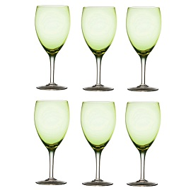 Wine Glass with Clear Stem - Green - Set Of 6