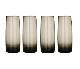 Prime Furnishing Crescendo Hi Ball Glasses, Smoke Grey, Set of 4