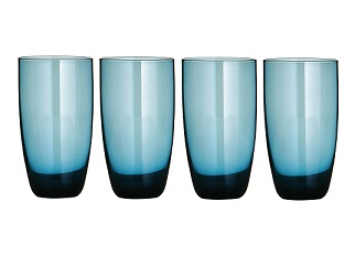 Premier Housewares Hi Ball Glasses - Set of 4 - Blue Lustre [Kit