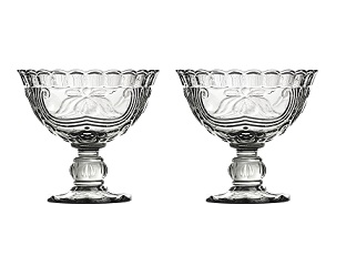 Imperial Sundae Dish, Smoked Glass - Set Of 2