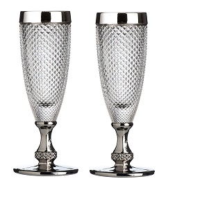 Prime Furnishing Silver Rimmed Champagne Glass - Set Of 2