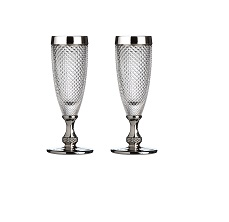Champagne Glass, Silver Rimmed, Clear/Diamond Finish