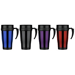 Viajar Travel Mug Black Blue Red Purple Plastic 450ml.