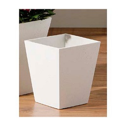 Prime Furnishing Small Square Tapered Vase - White