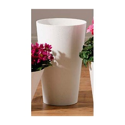 Cylinder Tapered Polyresin Vase - White