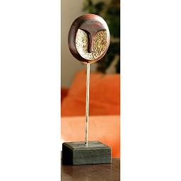 Premier Housewares Wooden Round Face Sculpture on Black Stand -
