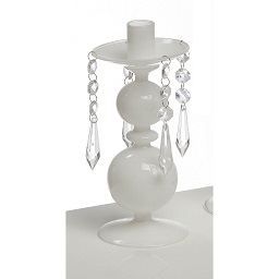 White Glass Candle Holder With Hanging Beads