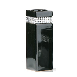 Radiance Large Candle Holder, Black/Diamante Detail