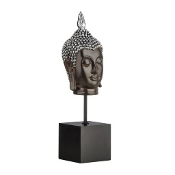 Buddha Head on Stand - Brown/Silver