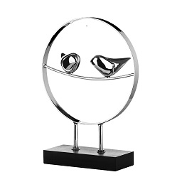 Two Bird Sculpture on Stand - Silver