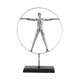Man Sculpture, Silver, On Stand