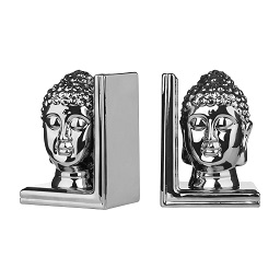 Prime Furnishing Buddha Head Bookends, Silver Ceramic - Set of