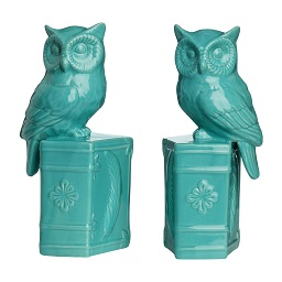 Prime Furnishing Owl On Book Design Bookends, Turquoise,Set of 2