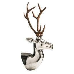 Prime Furnishing Wall Mountable Deer Head Sculpture, Nickel