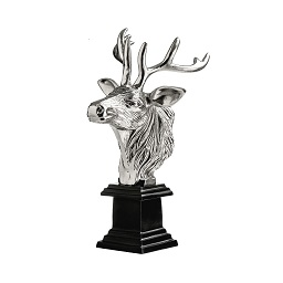 Prime Furnishing Stag Head Sculpture, Nickel Finish