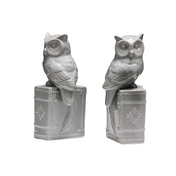 Prime Furnishing Owl On Book Bookends, Grey Ceramic - Set Of 2