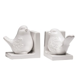 Prime Furnishing Bird Bookends - White Dolomite - Set of 2