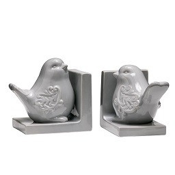 Prime Furnishing Bird Bookends - Grey Dolomite - Set of 2