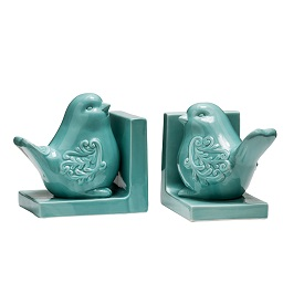 Prime Furnishing Bird Bookends - Turquoise Dolomite - Set of 2