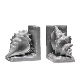 Prime Furnishing Conch Bookends, Grey Dolomite - Set of 2