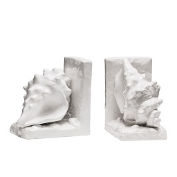 Prime Furnishing Conch Bookends, White Dolomite - Set of 2