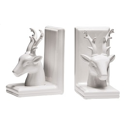Prime Furnishing Deer Bookends, White Dolomite - Set of 2