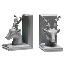Prime Furnishing Deer Bookends, Grey Dolomite - Set of 2