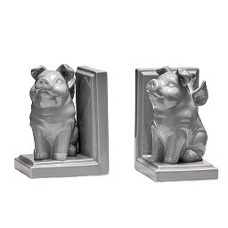 Prime Furnishing Flying Pig Bookends, Grey Dolomite - Set of 2