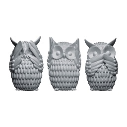 Prime Furnishing Owls - Grey Gloss - Set of 3