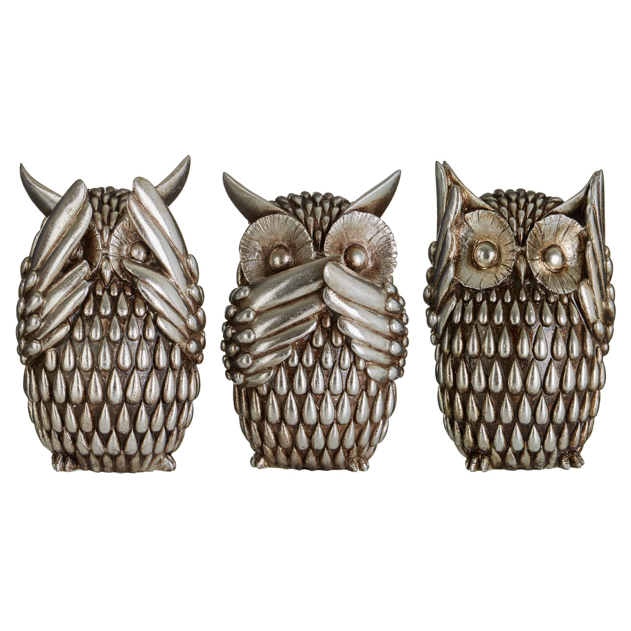 Prime Furnishing Owls - Silver - Set Of 3